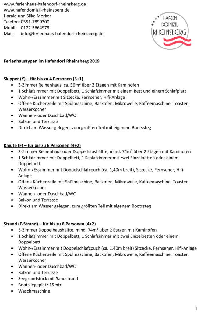 Beschreibung der Haustypen im Hafendorf Rheinsberg