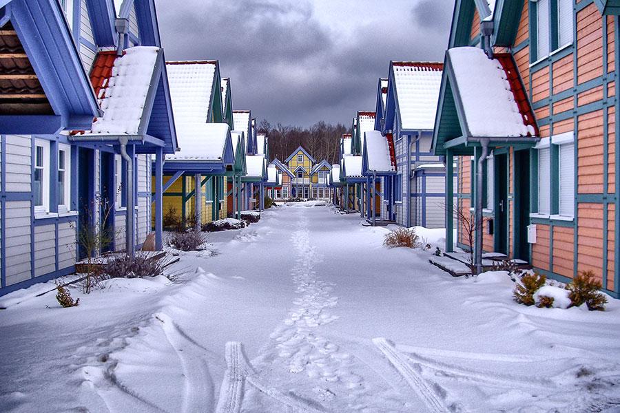 Die Ferienhäuser in der Großen Hafengasse im Winter