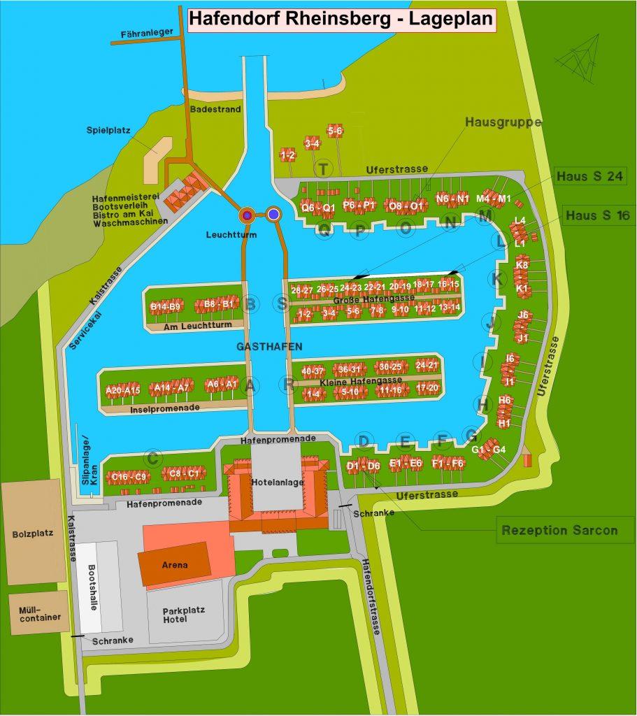 Hafendorf Rheinsberg Lageplan mit Nummern